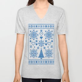 Christmas Cross Stitch Embroidery Sampler Teal And White Unisex V-Neck