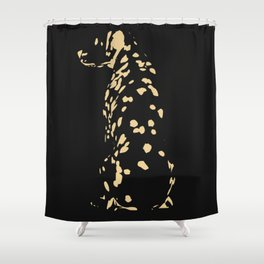 Dalmation in gold var 4 Shower Curtain