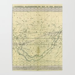 A Celestial Planisphere or Map of The Heavens Poster
