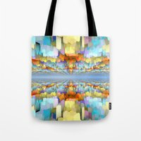 sci fi Tote Bags featuring Sci Fi Horizons by Phil Perkins