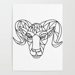 Bighorn Sheep Ram Mosaic Black and White Poster