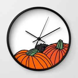 Fergus the Dog waiting for the black cats in the Pumpkin Patch for Halloween Wall Clock