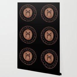 Mannaz - Wooden Celtic Rune of self, individuals, universe, family, loved ones, friends, devoted Wallpaper