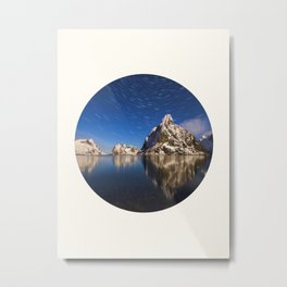 Mid Century Modern Round Circle Photo Graphic Design Swirling Star Sky Above Mountains Metal Print
