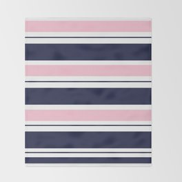 Blue Navy and Pink Stripes Throw Blanket