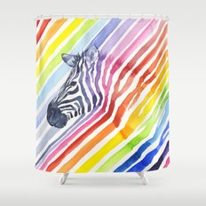 Animal Zebra Rainbow Shower Curtain