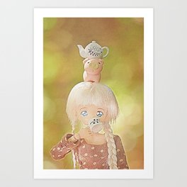 Drinking tea with with piggie and teapot on head Art Print