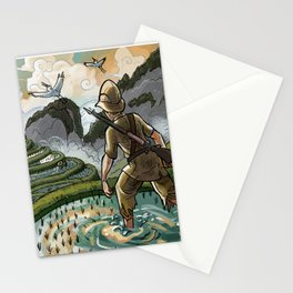 In the Rice Paddies Stationery Cards