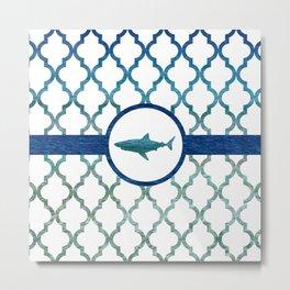 Shark: Tropical Water Moroccan Pattern Metal Print