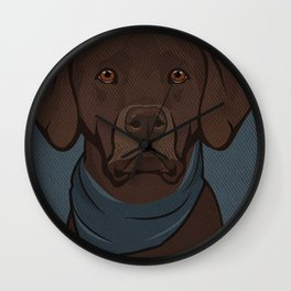 Icons of the Dog Park: Chocolate Labrador Design in Bold Colors for Pet Lovers Art Print Wall Clock