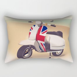Union Jack Scooter Travel poster, Rectangular Pillow