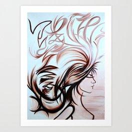 Wind in My Hair (earth tones) Art Print