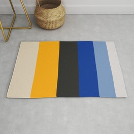Complementary Blue & Yellow Colorful Geometric Pattern Rug
