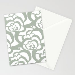 Sage Green Floral Flower Clouds Stationery Cards