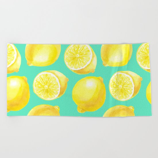 Watercolor lemons pattern Beach Towel