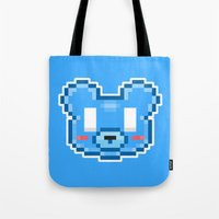 8bit Tote Bags featuring 8Bit Kawaiikuma by Bear Picnic