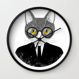 Funny Business Cat Kitten Shirt Gift For Cat And Meow Lovers Wall Clock