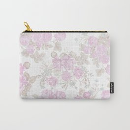 Vintage chic pastel pink green romantic roses floral Carry-All Pouch
