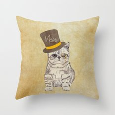 Meow | Funny Cute Kitten Cat Vintage Sketch Monocle and Top Hat Throw Pillow