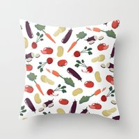 vegetable Throw Pillows featuring Vegetable by Ceren Aksu Dikenci