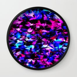 psychedelic geometric triangle polygon abstract pattern in pink blue black Wall Clock
