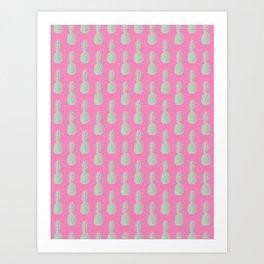Pineapples - Pink & Light Green #164 Art Print