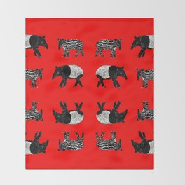 Dance of the Tapirs in red Throw Blanket