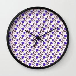 Elegant classy distressed blooming purple rose flowers pattern design. Retro vintage stylish floral Wall Clock