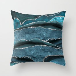 Ocean Waves  Marble Seascape Throw Pillow