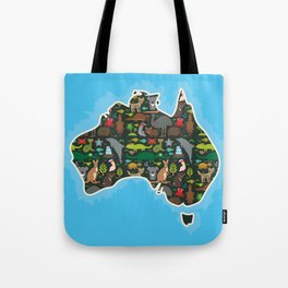 map of Australia. Wombat Echidna Platypus Emu Tasmanian devil Cockatoo kangaroo dingo octopus fish Tote Bag