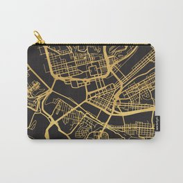 PITTSBURGH PENNSYLVANIA GOLD ON BLACK CITY MAP Carry-All Pouch