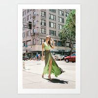 Green Dress in Downtown LA Art Print