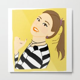 Knock Knock! Chaeyoung Yellow Metal Print