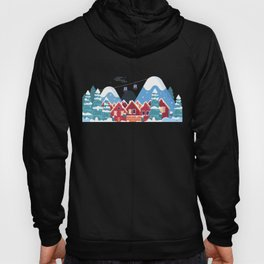 Merry Christmas Background With Winter holidays in the mountains concept banner. Hoody
