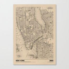 New York 1890 - Old Vintage USA Map Canvas Print