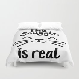 The Snuggle is Real (Black on White) Duvet Cover