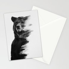 Observing Bear (black & white version) Stationery Cards
