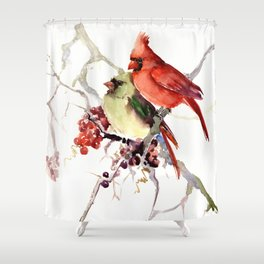 Cardinal Birds, birds art, two bird artwork cardinal bird Shower Curtain