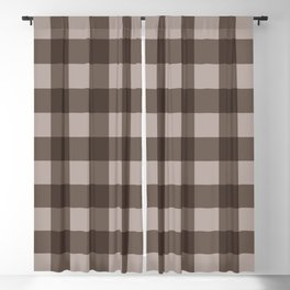 Brown Checkered Plaid Squares Blackout Curtain