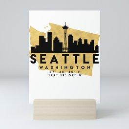 SEATTLE WASHINGTON SILHOUETTE SKYLINE MAP ART Mini Art Print