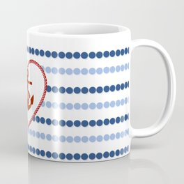 Modern navy blue nautical red heart anchor polka dots stripes Coffee Mug
