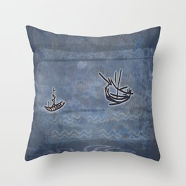 Tribal Boats in the Night Throw Pillow