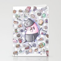 junk food Stationery Cards featuring Junk Food Coma Kitty by Frisky Fauna