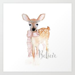 Believe- Christmas fawn Art Print