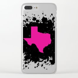 Hot Pink State of Texas with Black Ink Splatter Clear iPhone Case