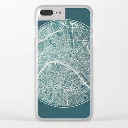 Paris Map Planet Clear iPhone Case