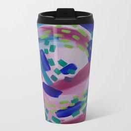 Pink and Blue Spiral Abstract Painting Metal Travel Mug