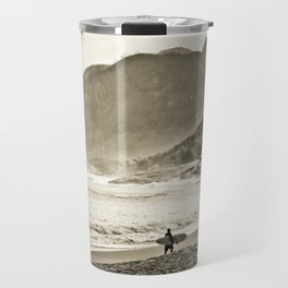 The Surfer and the Mountain Travel Mug
