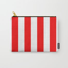 Jumbo Berry Red and White Rustic Vertical Cabana Stripes Carry-All Pouch