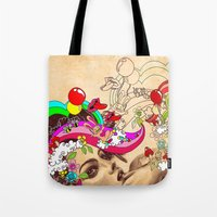 pills Tote Bags featuring Happy Pills by Victoria Viray